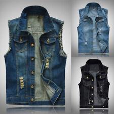 Mens Ripped Sleeveless Denim Jacket Waistcoat Casual Hippy Biker Wash Jeans Vest