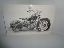 Harley Davidson 1949 Panhead Hand Sketched Picture Print