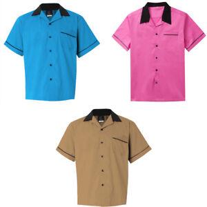 Male Retro Bowling Shirt Party Clubwear Rockabilly Cargo Shirt Hip Hop Blouse