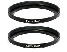 (2 Packs) 43-49mm 43mm to 49mm Metal Step Up Lens Filter Ring Adapter Us Seller