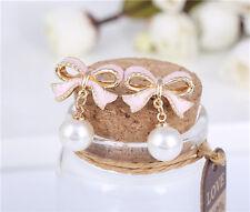 New Korean pearl earrings Pink bow stalk earrings jewelry