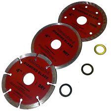 3 PCS 4  inch Diamond Saw Blade dry Wet 5/8 or 7/8 inch arbor