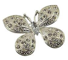 Silver Butterfly Bridal Brooch Rhinestone Crystal Diamante Wedding Broach Pin
