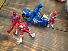 Lot of power rangers and bike blue and red rangers 5 pieces