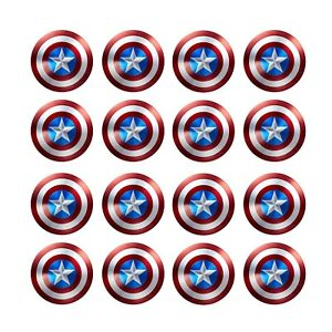 24x Captain America Edible Wafer Cupcake Toppers Paper 4cm (uncut)