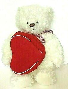 Hallmark Plush Teddy Bear White Zippered Red Heart 14 Inch EUC