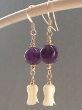 Vintage Carved Tulip MOP & Amethyst Round Gemstones 14ct Rolled Gold Earrings