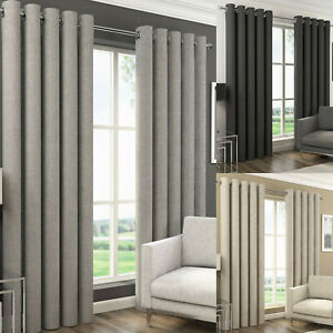Blackout Eyelet Curtains. Orion. Modern Style Semi Plain Choice of Colour