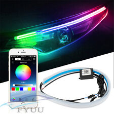 2X 60cm RGB Sequential LED Daytime Running Lamp DRL APP Bluetooth Remote Control