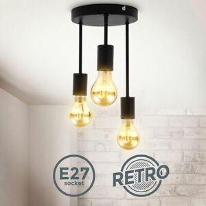 Plafonnier rétro E27 noir mat métal vintage plafond salon couloir chambre