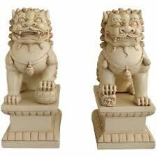 FOO DOG Statues-Set Of Two Guardian Protector Lions Stone Finish 18 Inches Each