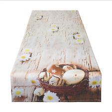 Tischläufer OSTERN mit Druckmotiv Ostereier im Korb Farbe beige braun 40x140 cm