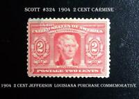Great United States VF Mint Stamp #324 1904 2¢ Jefferson Louisiana Purchase