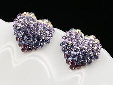 Love Heart lavender purple gradient Austrian Crystal silver CLIP Earring T15