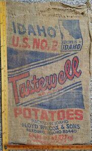 Vtg Burlap #50 Potato Sack IDAHO TASTEWELL BRAND Rexburg, Idaho Floyd Wilcox USA