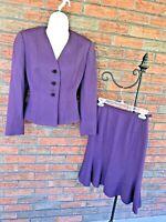 Vintage Wool Skirt & Blazer Size 0 A-Line Lined Jacket Shoulder Pads Mary Kay