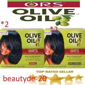2 X ORS Organic Root Stimulator Olive Oil Hair Relaxer Kit- FREE UK POST!!!!