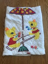 Vintage Hand Embroidered Baby Crib Comforter Blanket White Teddy Bears Flowers