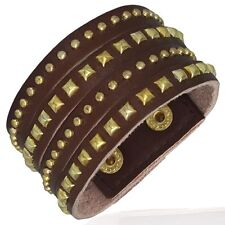 Brown Leather Gold Color Square Pyramid Round Circle Stud Wristband Bracelet