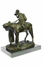 Vintage Middle Eastern Man On Horse Bronze Sculpture Figurine Arab Soldier Sale