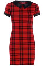 Women Ladies Red Tartan PVC Peter Pan Collar Cap Sleeve Bodycon Tunic Dress 8-18