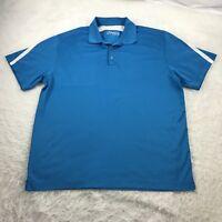 Nike Golf Men's XL Polo Shirt Blue White Accents DRI-FIT Short Sleeve 1/4 Button
