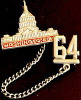Vintage 1964 Washington DC Capitol Lapel Pin And Chain