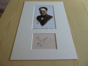 Charlie Chaplin mounted photograph & preprint autograph signed card