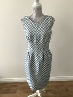 Principles White Dress With Blue Circle Pattern And Pockets-Formal/Work- Size 10