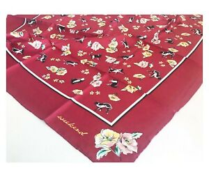 100% SILK TWILL Women Large Square Scarf Head Hair Wrap Red Floral Cat Bandana