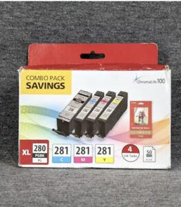 "Canon PIXMA PGBK-280 XL / CLI-281 4-Color Ink Tank Combo Pack 4x 6"" Photo Paper"