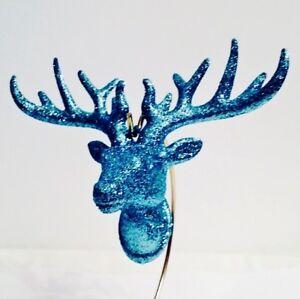 Blue Glitter Deer Ornament Winter Wonderland Home Decor Xmas Holiday Stag Head