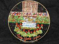 Hand painted glass Christmas Plate New York City Rockefeller Center Building