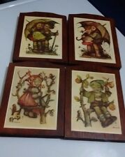 Vintage Lot Of 4 Hummel Wood Plaque Pictures, 2 # 36 Different Poses