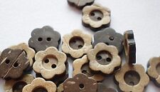 "Lot of 10 FLOWER 2-hole Coconut Shell Buttons 1/2"" (12mm) Craft (231)"