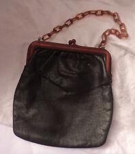 Vintage sac a main en Cuir Noir Ambre écaille de tortue en bakélite lucite chaîne poignée