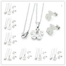 Stainless Steel Love Heart Bear- Necklace Crystal Shell Pendant Earrings Sets