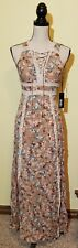 Lulus Sun Will Shine Floral Maxi Dress Beige Extra Small XS Open Back Lace Front