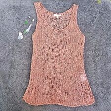 Eileen Fisher Sleeveless Crocheted Cotton Knit Top Dusty Rose Women Size XS