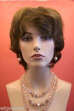 Classic Collar Length Shag Style Human Hair Light Chestnut Brown Straight Wigs