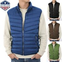 Mens Puffer Vest Jacket Bubble Coat Quilted Padded Outwear Winter Light Weight