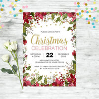 CHRISTMAS INVITATION PERSONALISED PARTY SUPPLIES FLORAL INVITE XMAS GOLD
