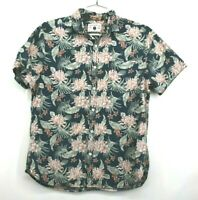 Denim & Flower Mens Hawaiian Print Button Up Short Sleeve Slim Fit Shirt Size XL