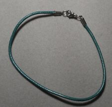 21 cm GREEN Leather Bracelet with Lobster clasp   (600)