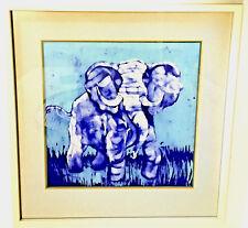 Blue Elephant Batik Original Painting Signed Matt Framed Vintage - Mixed Media