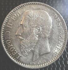 BELGIQUE 1 FRANC 1886 LÉOPOLD II LÉGENDE FRANÇAISE SUP/SPL RARE EN L'ÉTAT
