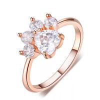 Heart Cut White Sapphire Ring Rose Gold Cute Dog Paw Footprint CZ Wedding Band