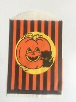 Vintage 1940-60s Halloween Treat Paper Bag w/ Pumpkin and Black Cat