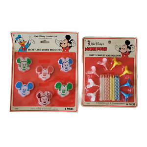 Vintage Walt Disney Mickey Mouse Party Supplies Candles Brooches NOS