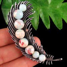 New Carved Tibetan silver inlay Snake Skin Jasper Feather Pendant Brooch W305